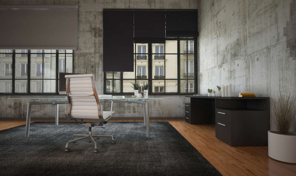 3D Rendering of Stark modern office interior with grey walls, mi